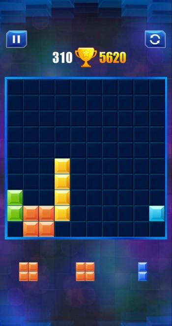 ブロックパズルのゲーム画面