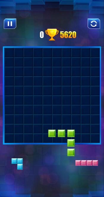 ブロックパズルのゲーム画面スタート時