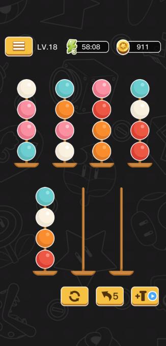 移動先は同じ色かボールがない棒にだけ可能