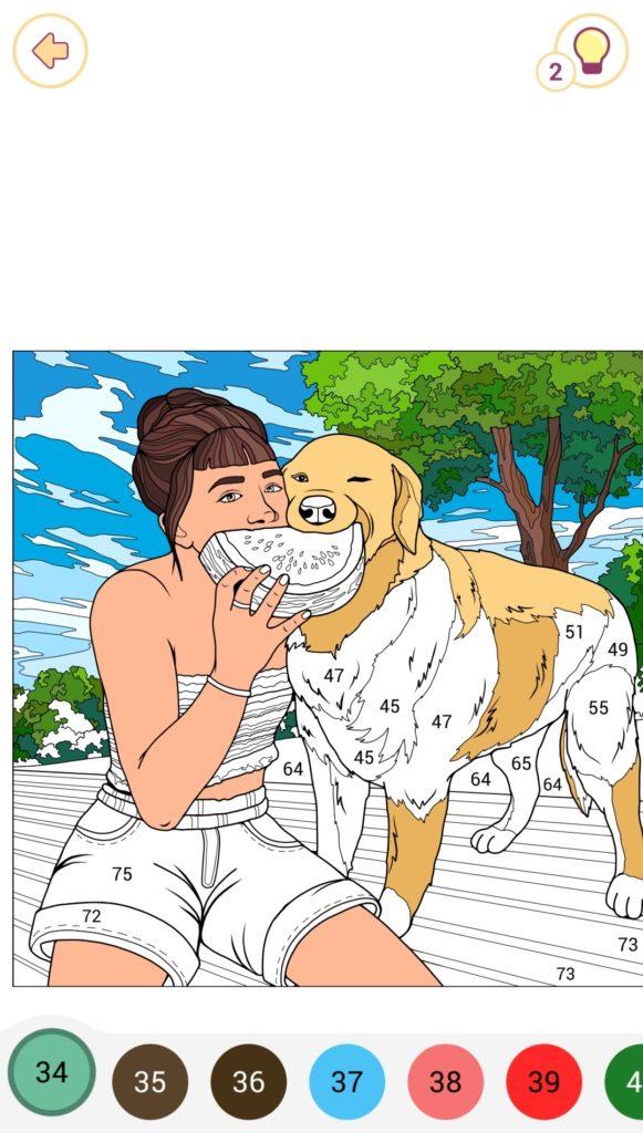 塗りかけの女性と犬の塗り絵
