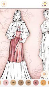 中世的なドレスの女性