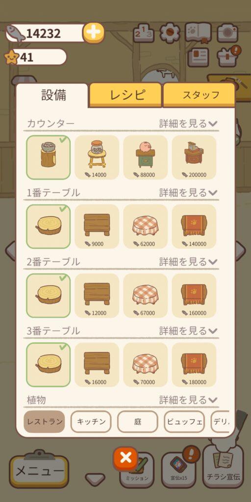ねこレストラン 家具